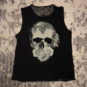 Express skull front lace back tank/muscle tee